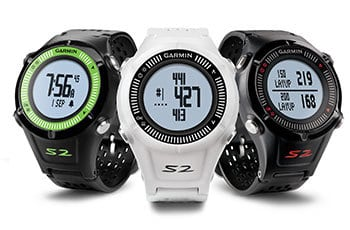 Image of three Garmin Approach S2 golf gps watches in different colors. Black/Green, white, and all black.