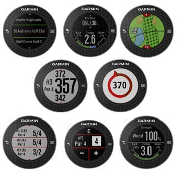 Image of eight different Garmin S6 watch faces showing different functions on the best golf gps watch of 2017