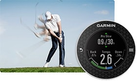 image of a man swinging a golf club next to the gamin s6 golf gps watch.