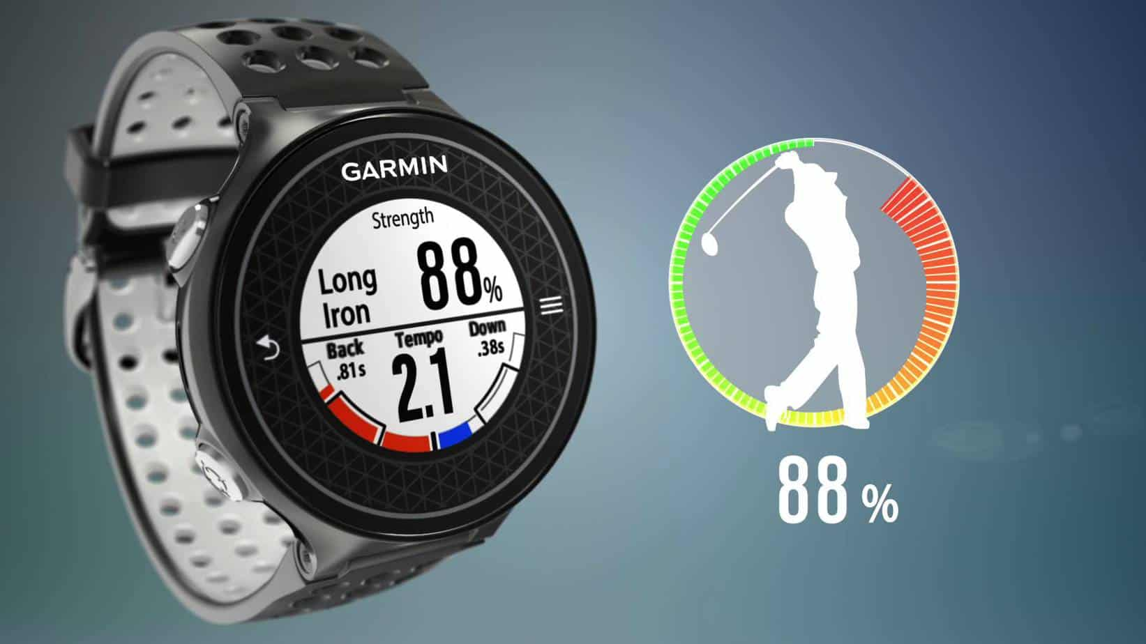 Image of the swing strength function screen on the Garmin S6 golf gps watch next to a man swinging a golf club.