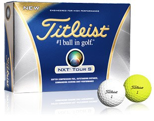 Image of the Titleist NXT Tour S in yellow and white. This one of the best golf balls for soft feel.