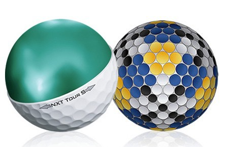 Image of the dimple pattern and insides of the NXT Tour S golf ball, which is why its one of the best golf balls.