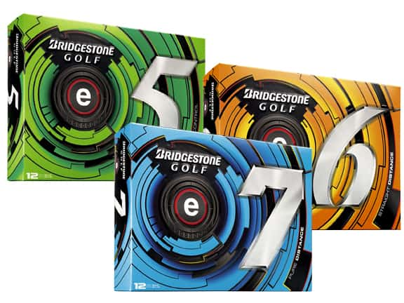 This is an image of three boxes of Bridgestone golf balls. It contains an e5, e6, and e7 golf ball.