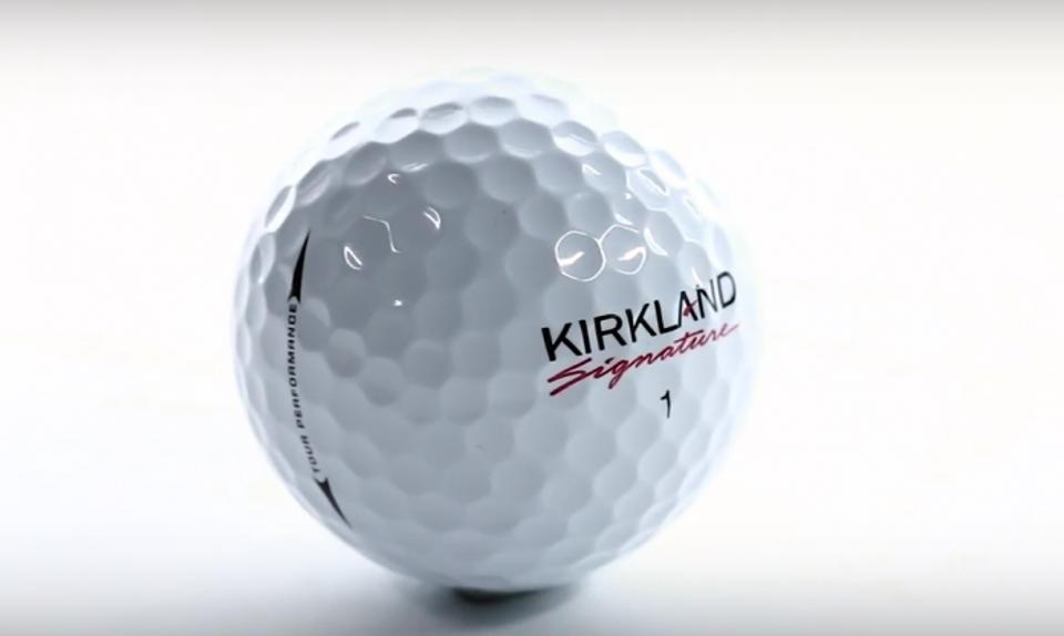 Image of a brand new Kirkland Signature Golf Ball with a white background.