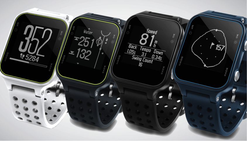 Image of four colors of the Garmin S20 golf watch. Blue, Black, Grey, and white.