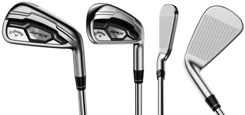 Image of Callaway Apex CF16 golf clubs. top, side, and front angles