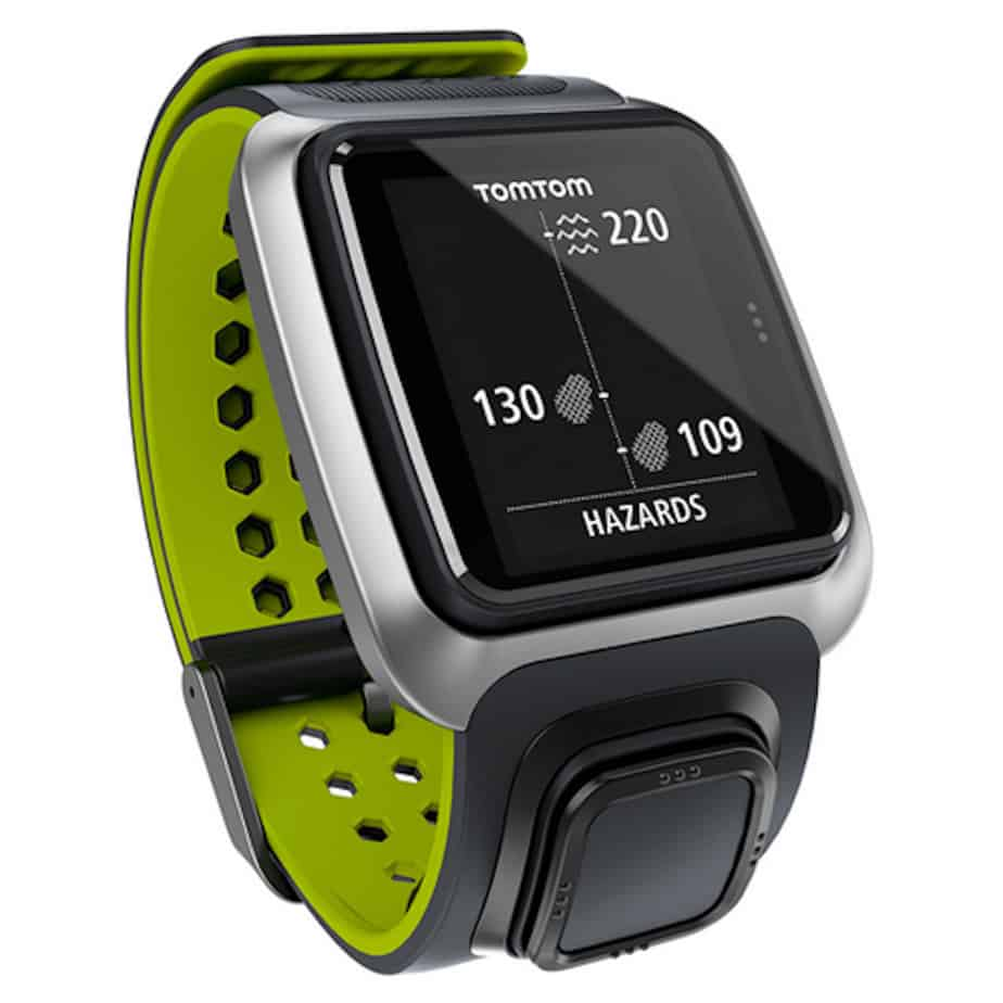 Image of TomTom golfer 2 golf GPS watch. Watch screen shows yardage to hazards.