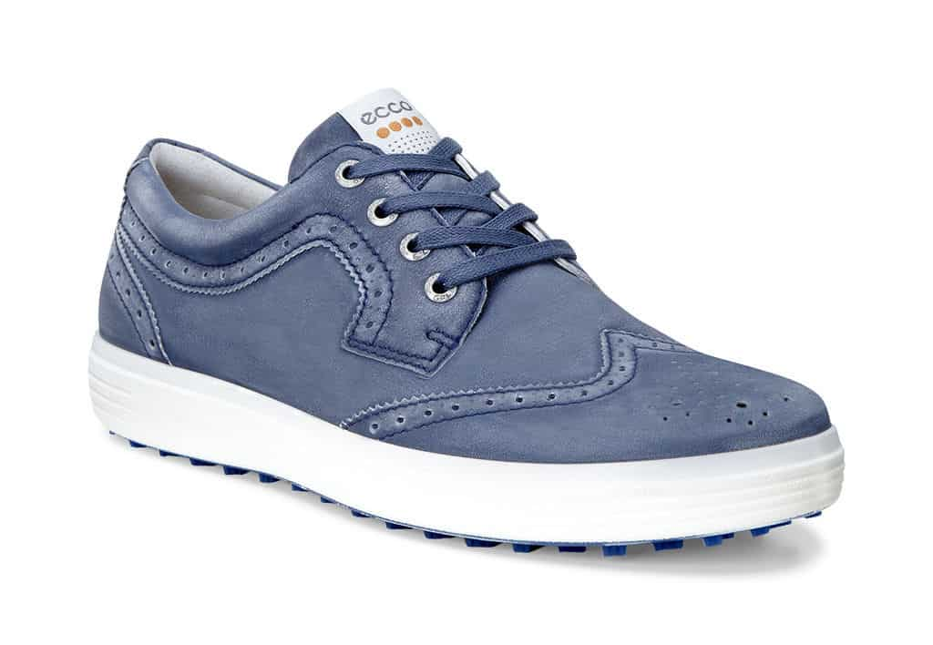 Image of the Ecco Golf Casual Hybrid golf shoes in blue wingtip style.