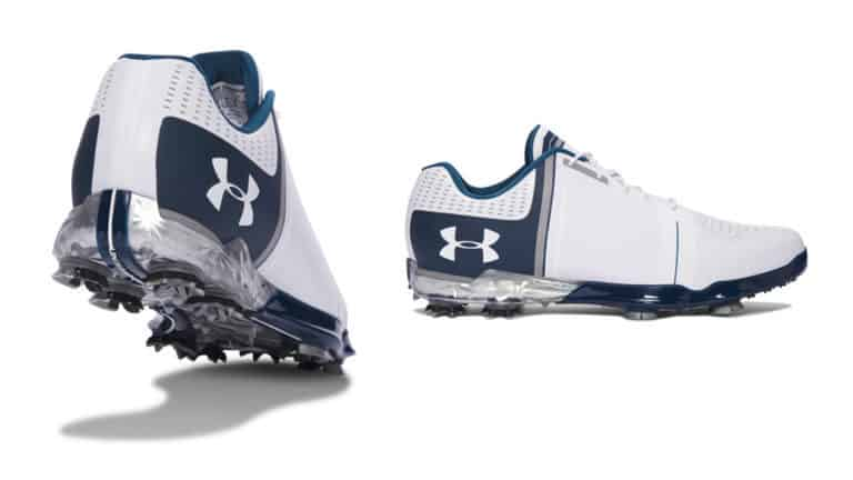 Image of blue and white under armour Spieth one golf shoe. the best golf shoe on the market.