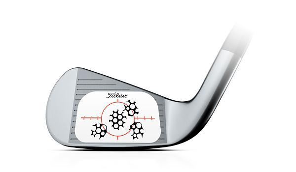 Image of the Titleist AP3 club head. Shows shot dispersion on face.