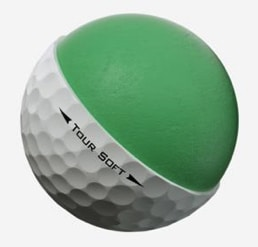 Image of a Titleist Tour Soft golf ball core. Large core with special cover for spin.