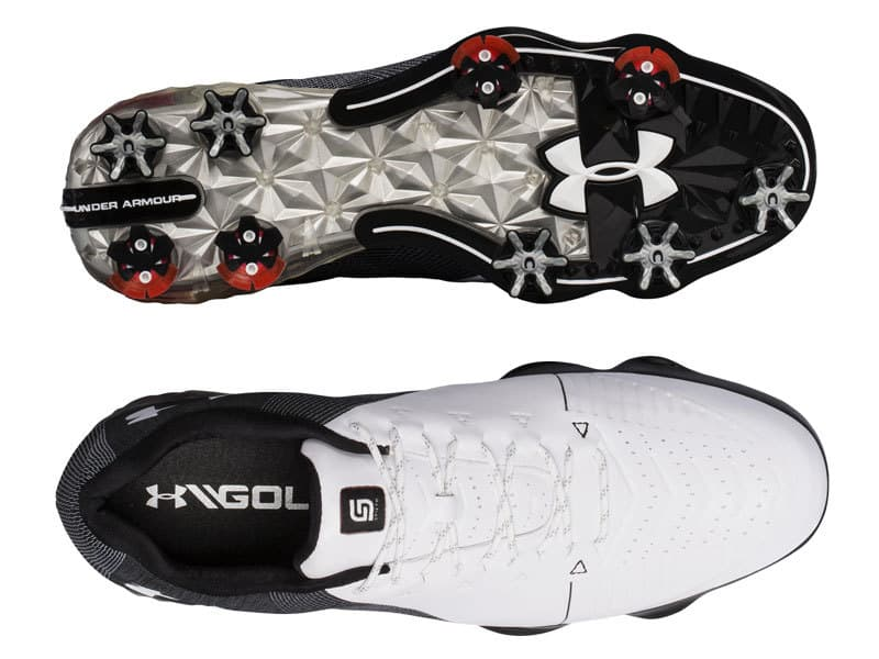 Image of the top and bottom of the under armour Spieth 2 golf shoes.