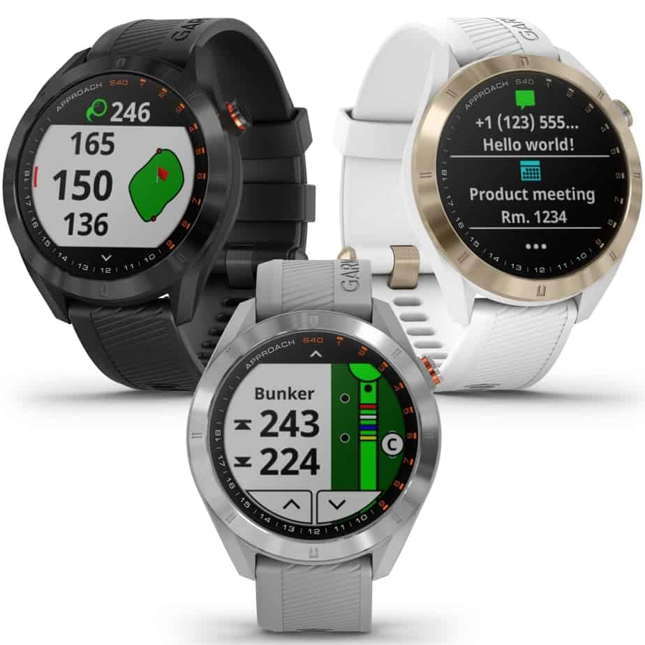 Three Garmin S40 golf gps watches.