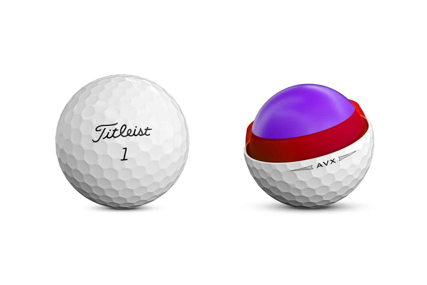 Image of Titleist AVX golf ball core and outer layer