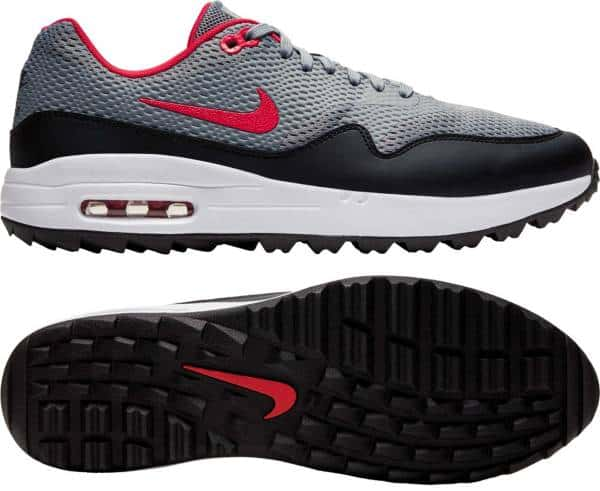 Nike Air Max Red, Grey, and black. Sole of shoe.
